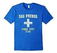 Retro Park City Utah Ski Patrol T Shirt Royal Blue