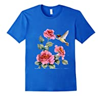 Hummingbird With Roses T For Shirts Royal Blue
