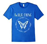 Wild Thing Butterfly Floral Wht Shirts Royal Blue