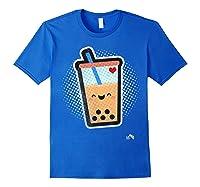 Boba Milk Tea Bubbles T-shirt Royal Blue