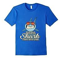 Papa Shark Doo Doo Funny Gift Dads Boss Man Shirts Royal Blue