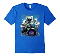 Nasa Space Drum Playing Astronaut Premium Graphic T-shirt Royal Blue