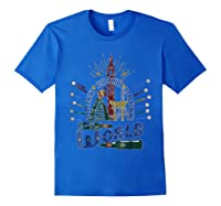 Adult Vacation Drinking Tshirt Drink Around World Theme Park Royal Blue