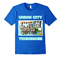 Lotta Shirts Union City Tennessee Postcard Greeting T Shirt Royal Blue