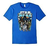 S Classic Comic Art Group Shot Darth Vader Shirts Royal Blue