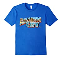 Atlantic City New Nj Vintage Retro Souvenir T Shirt Royal Blue