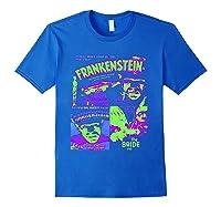 Frankenstein Colorful Collage Vintage Horror Movie Shirts Royal Blue
