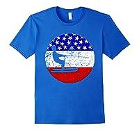 American Flag Waterskiing Vintage Retro Waterskiier Shirts Royal Blue