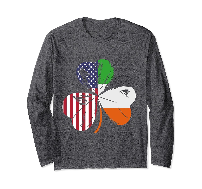 American Flag Irish Flag Shamrock Ireland Long Sleeve T-Shirt-Awarplus