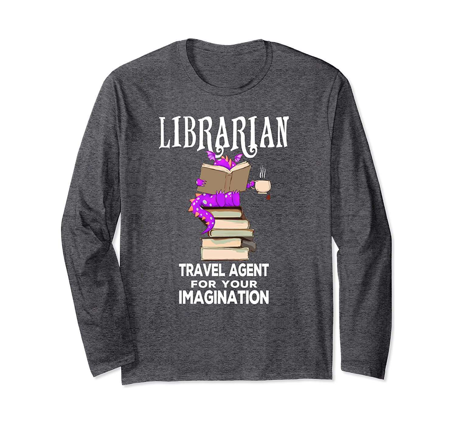 Librarian Dragon and Books Cute Gift Long Sleeve T-Shirt