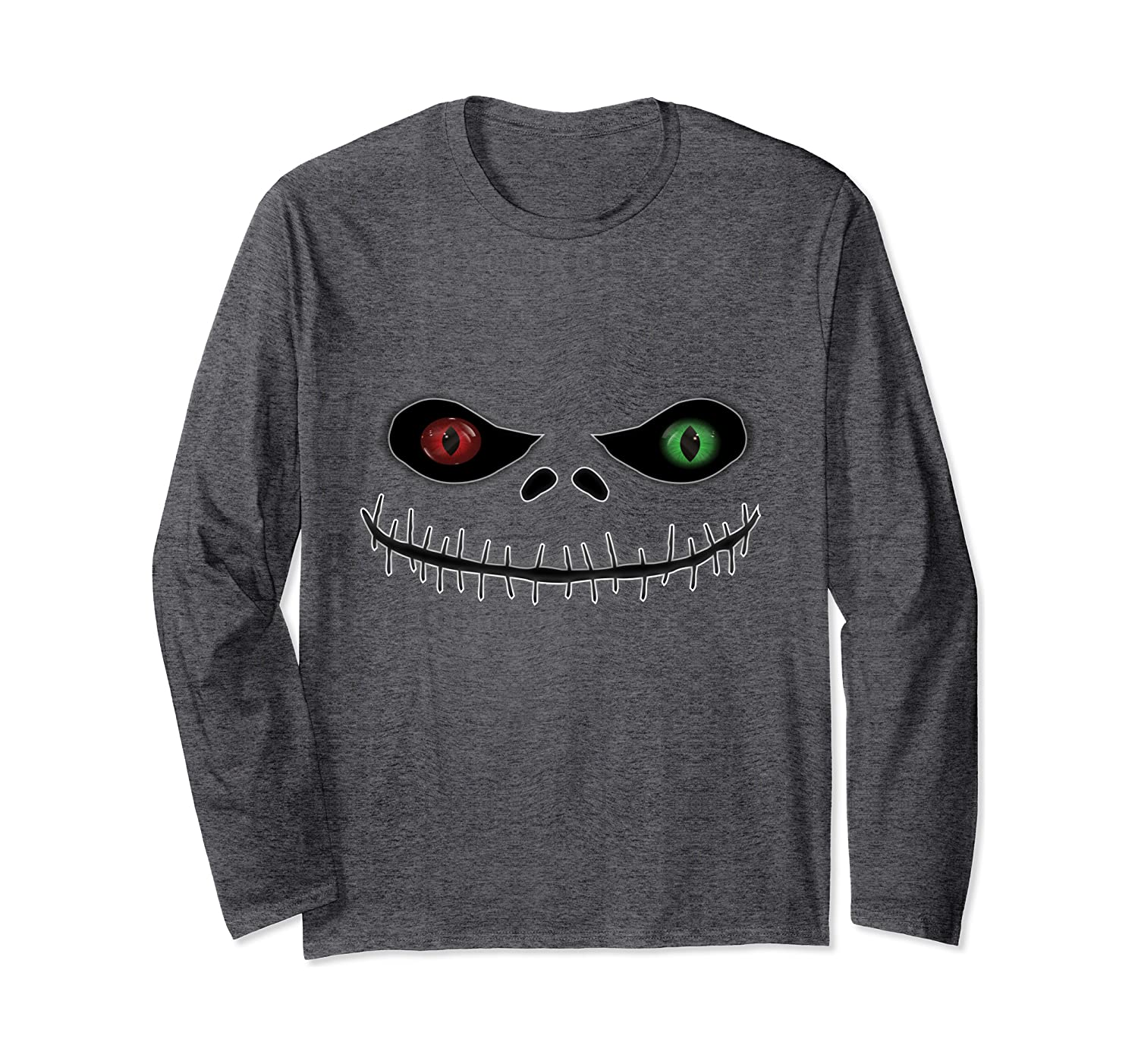 Funny Pumpkin Scary Evil Face Smile Mens Womens Kids Long Sleeve T-Shirt-SFS