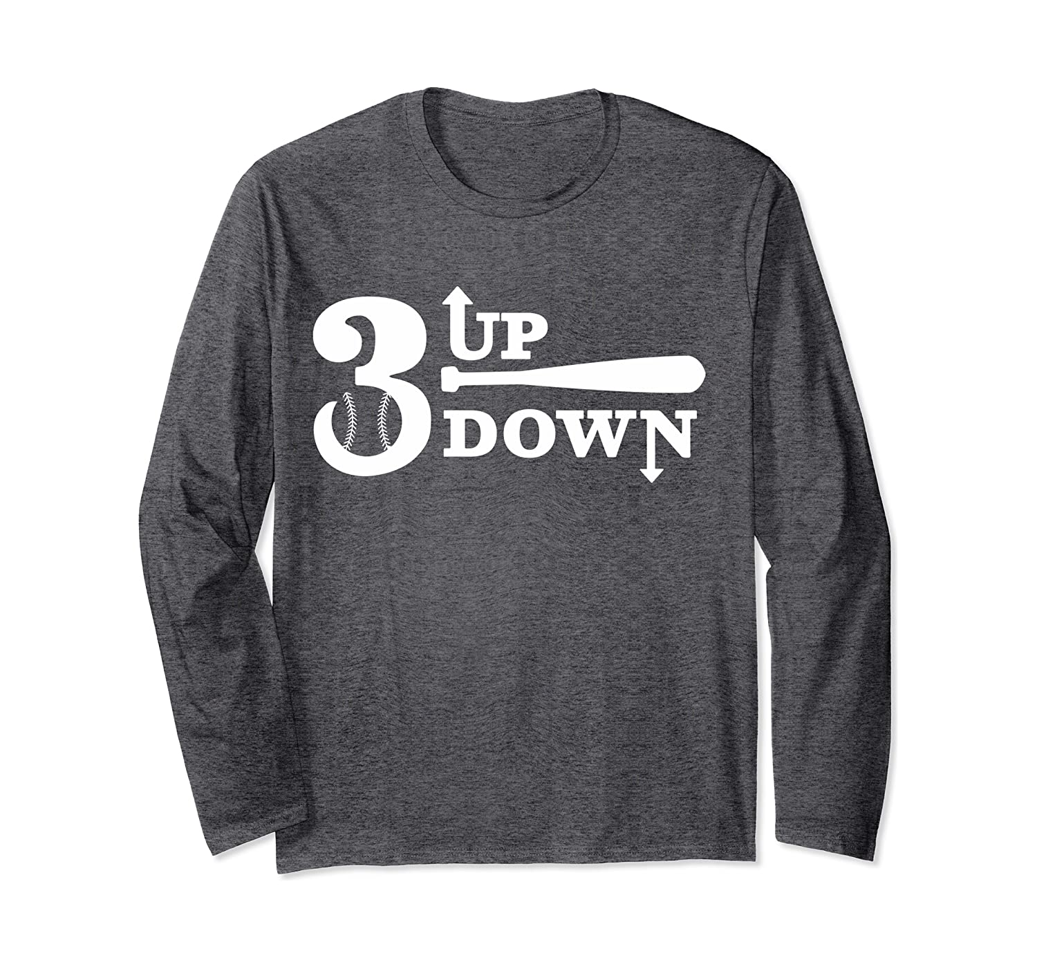 3 Baseball Up Down, Real Champion Player Fan, for Gift Long Sleeve T-Shirt