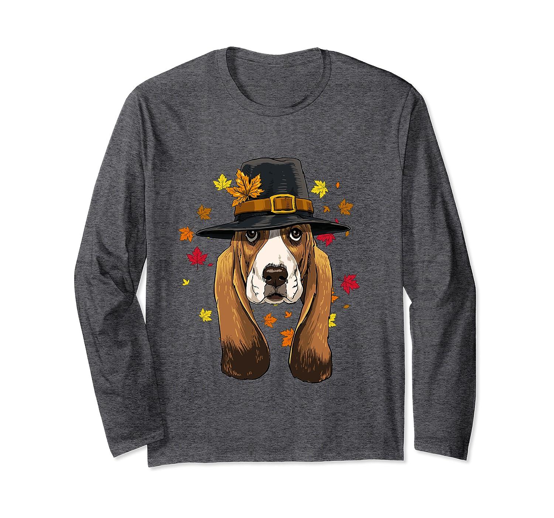 Thanksgiving Basset Hound Pilgrim Costume Men Women Long Sleeve T-Shirt