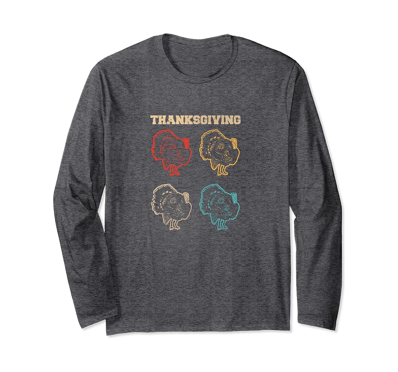 70s Retro Thanksgiving Turkey Graphic Long Sleeve T-Shirt