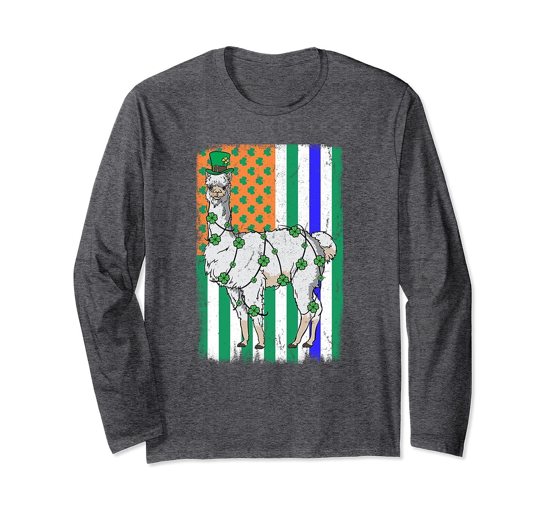 Llama Leprechaun Irish USA Police Flag Cop St Patricks Day Long Sleeve T-Shirt-Colonhue