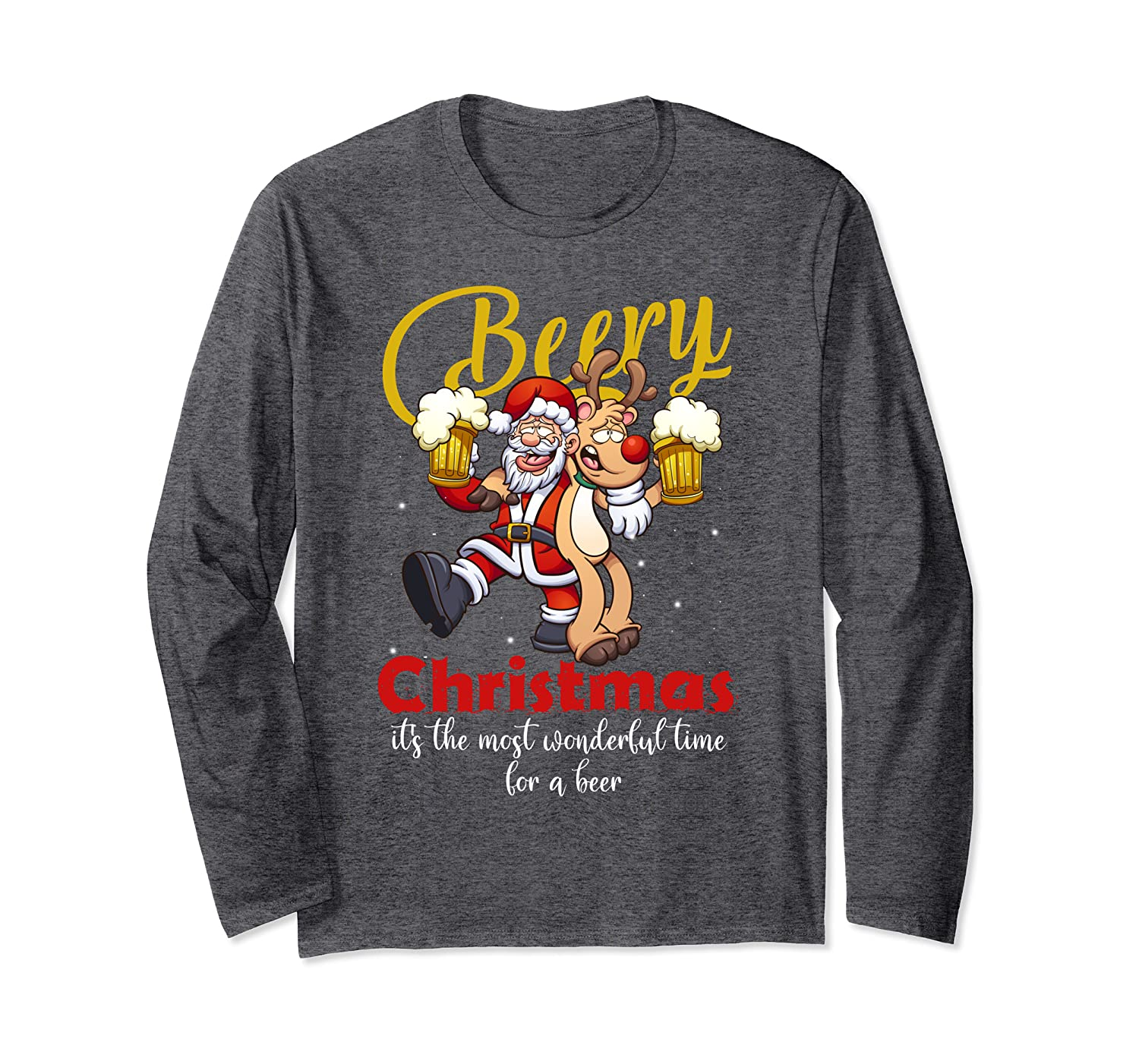 Beery Christmas It's The Most Wonderful Time For A Beer Long Sleeve T-Shirt-Awarplus