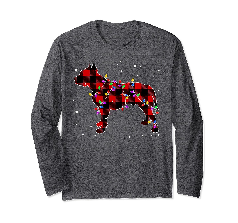 Pajamas Red Buffalo Plaid Pitbull Christmas Gift Puppy Lover Long Sleeve T-Shirt-ANZ