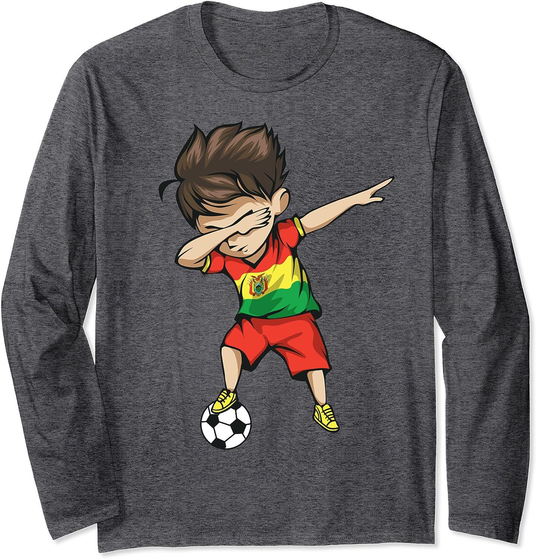 Dabbing Soccer Boy Bolivia Jersey - Bolivian Football Long Sleeve T-Shirt-ANZ