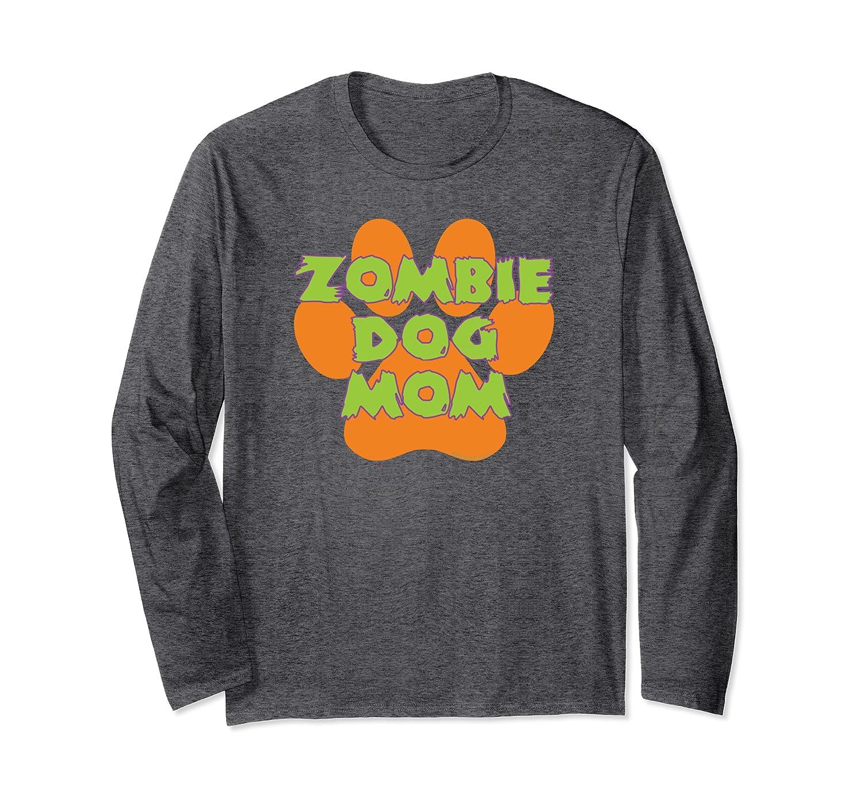 Zombie Dog Mom Funny Halloween Orange Paw Print Long Sleeve T-Shirt