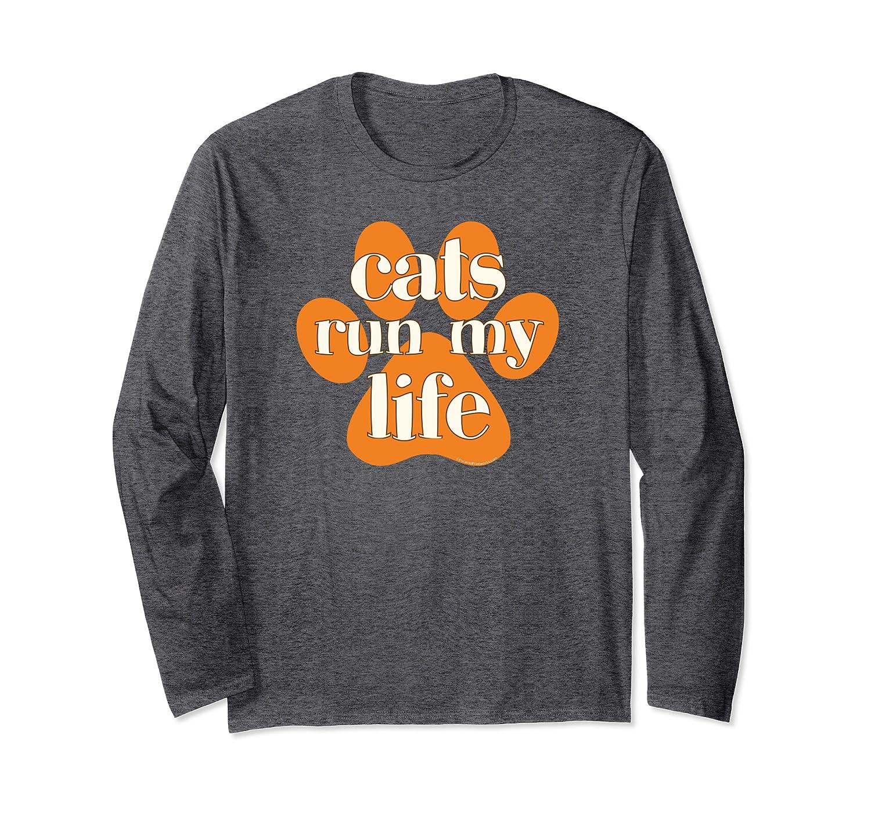 Cats Run My Life Orange Ivory Cat Paw Print Cute Funny Long Sleeve T-Shirt