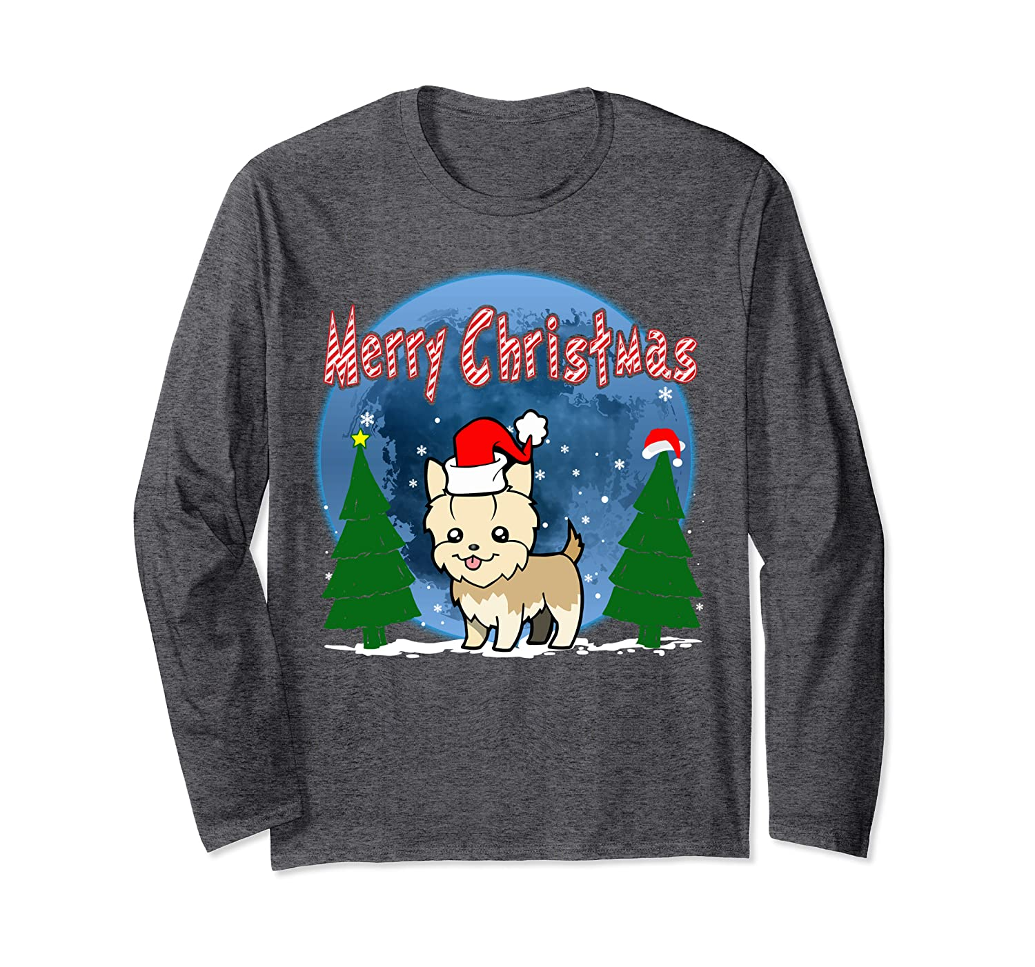 Santa Yorkshire Terrier Dog Holiday Merry Christmas Graphic Long Sleeve T-Shirt