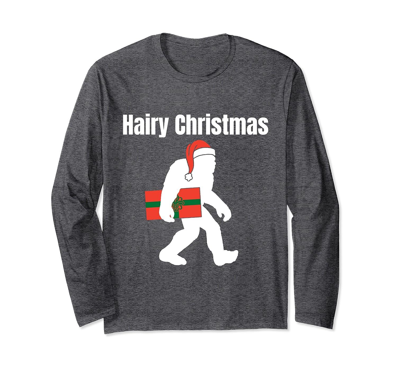 Hairy Christmas Bigfoot Santa Claus Hat Funny Sasquatch Gift Long Sleeve T-Shirt