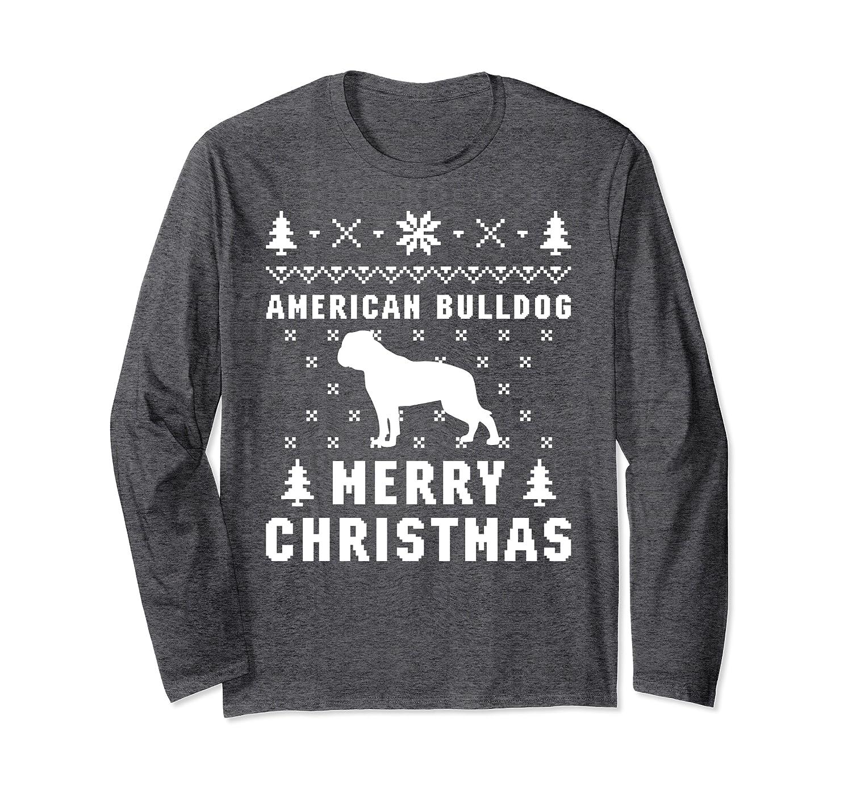 AMERICAN BULLDOG Funny Ugly Christmas Sweater Long Sleeve T-Shirt-Cotoa