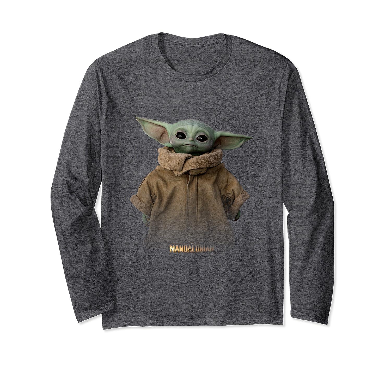 Star Wars The Mandalorian Logo The Child Simple Portrait Long Sleeve T-Shirt