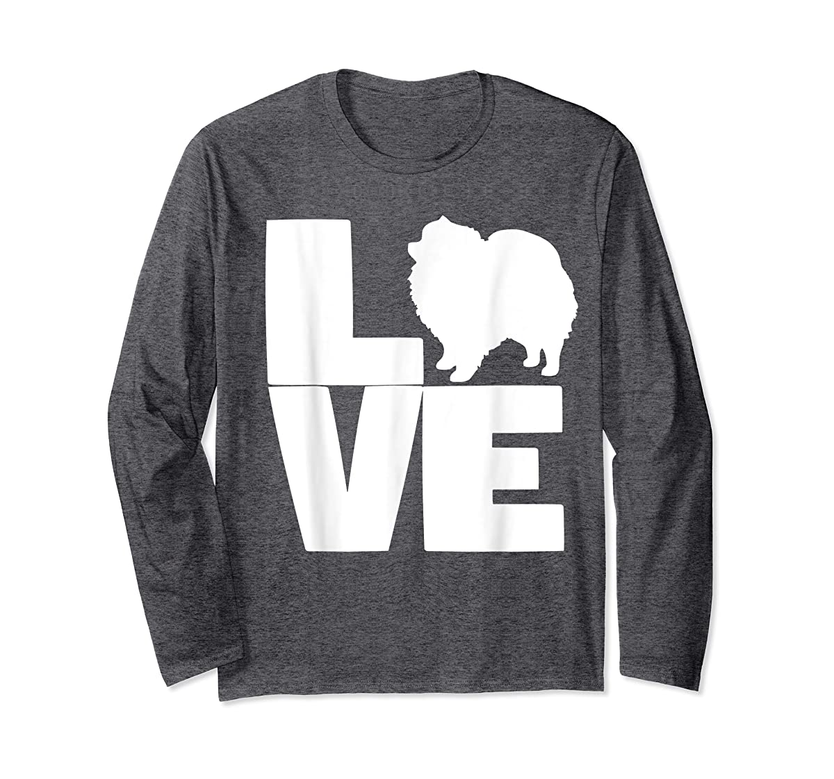 I Love Pomeranians Pom Mom or Dad Pet Lover T Shirt-Long Sleeve-Dark Heather