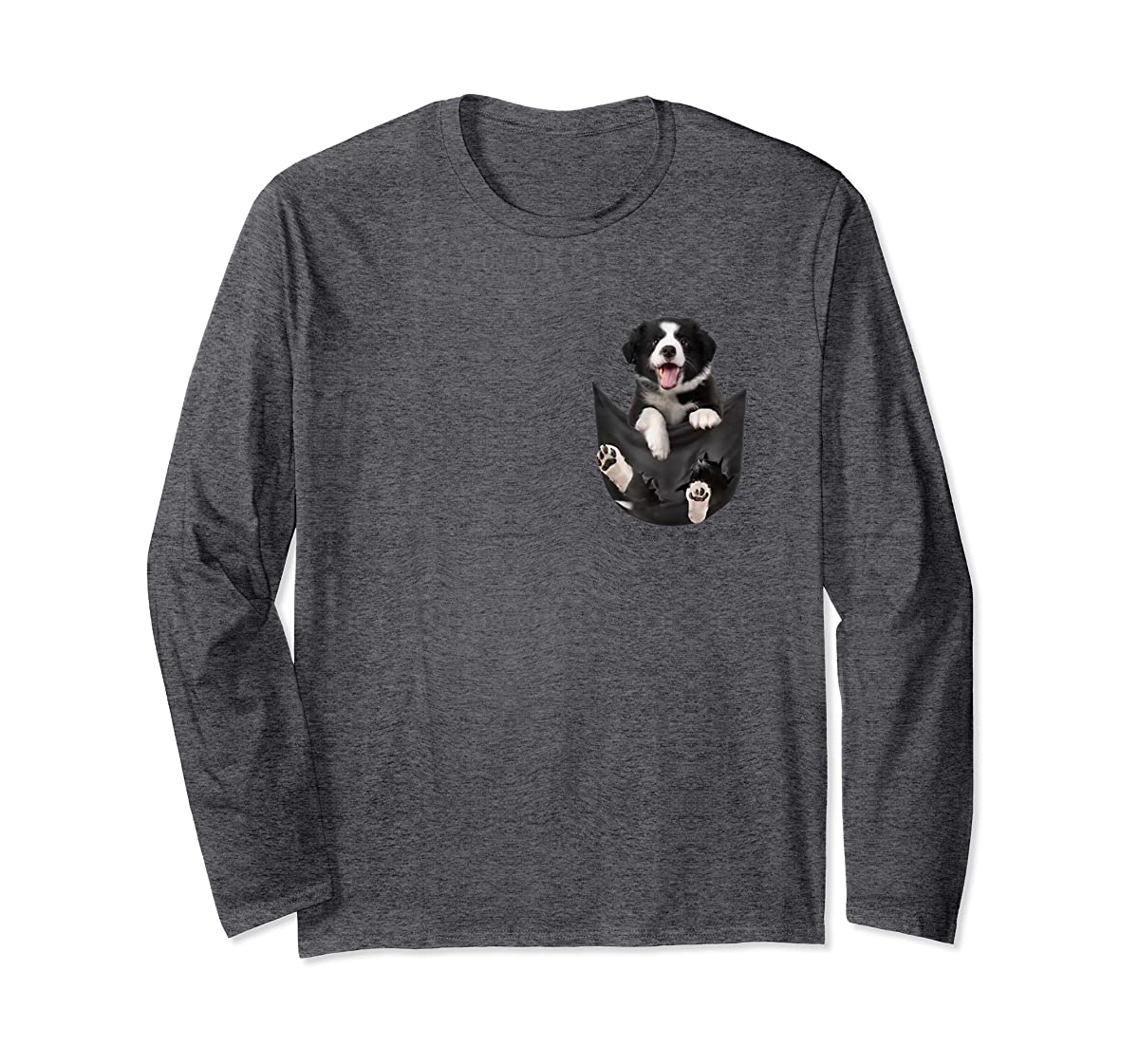 Border Collies Inside In Pocket Dog Lover T shirt Funny Cute-Long Sleeve-Dark Heather