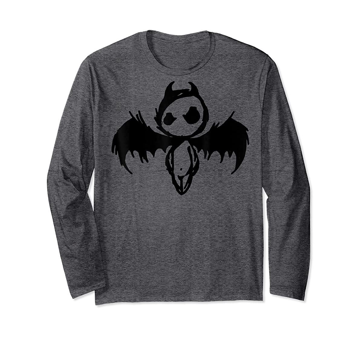 Cute Demon Vintage Couple Matching Halloween Party Costume  T-Shirt-Long Sleeve-Dark Heather