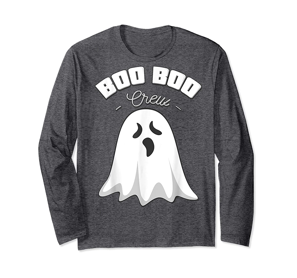 Boo Boo Crew Ghost Funny Halloween Black and Orange Night  T-Shirt-Long Sleeve-Dark Heather