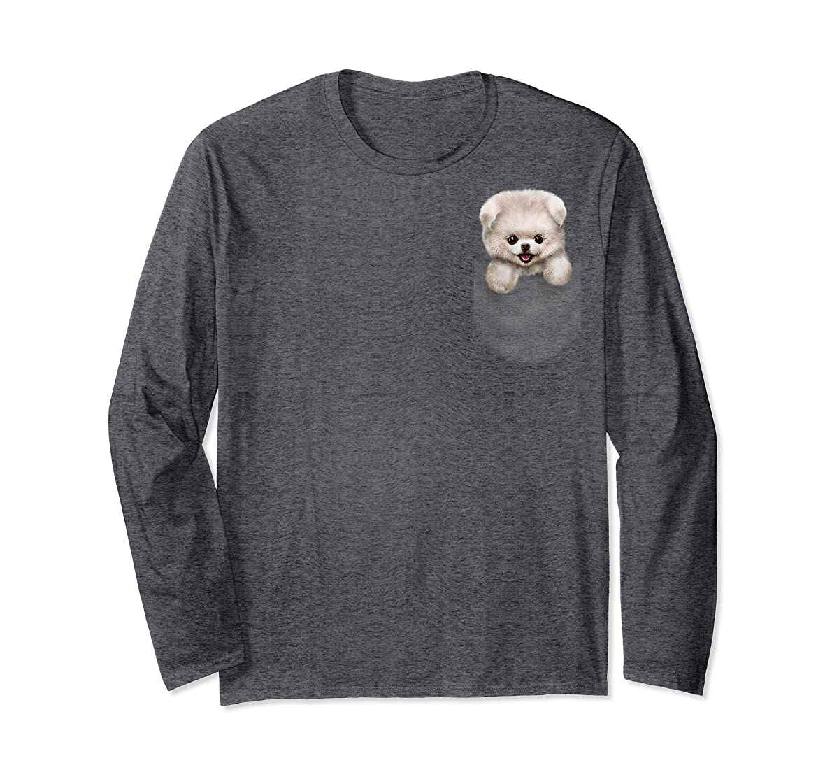 T-Shirt, Cute White Fluffy Pomeranian Puppy in Pocket, Dog-Long Sleeve-Dark Heather