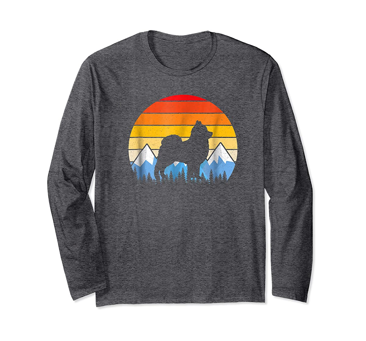 Vintage Retro Pomeranian Lovers Gifts Pomeranian T Shirts-Long Sleeve-Dark Heather
