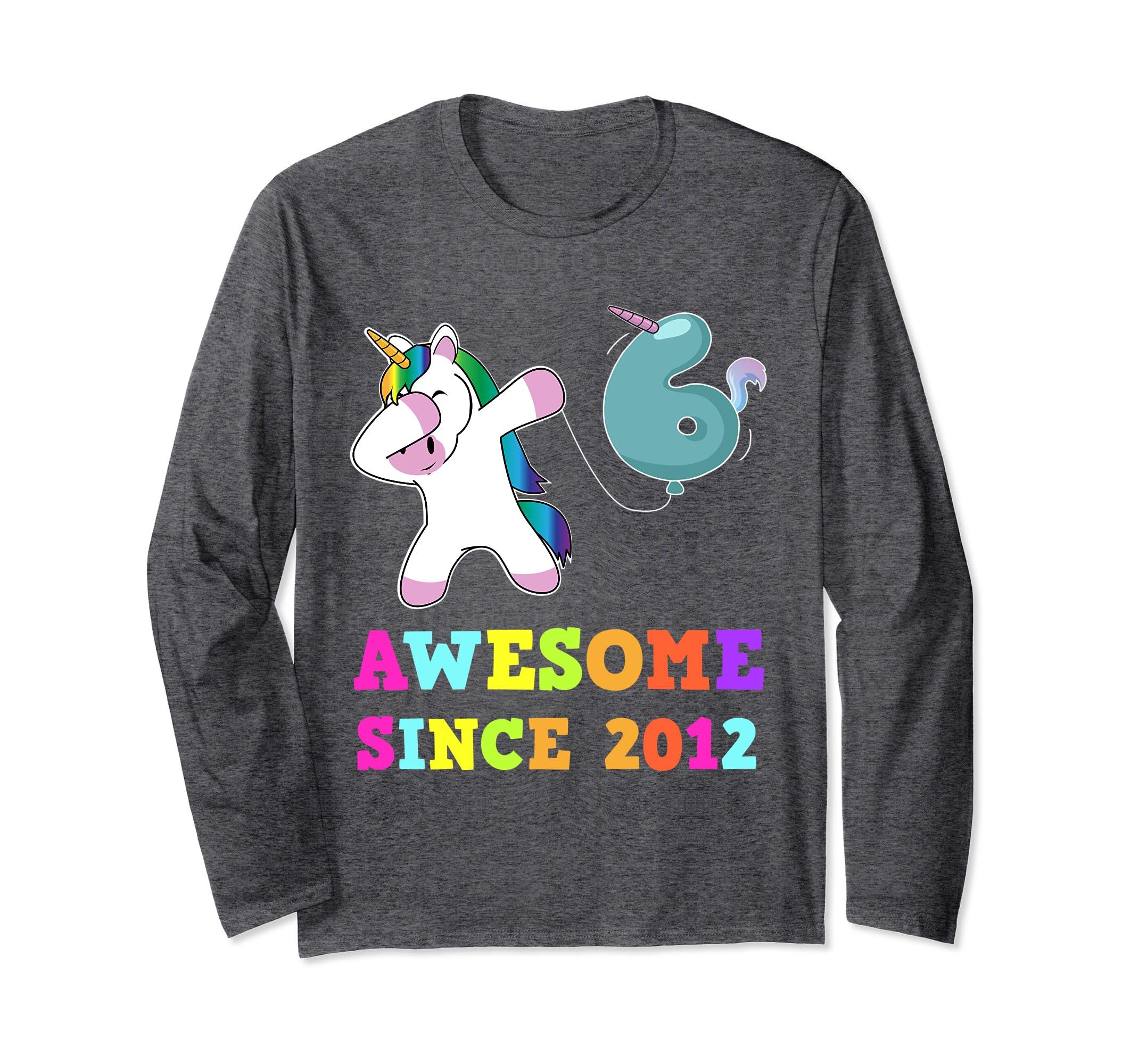 Sixth Birthday Unicorn 6th BDay Girls Outfit LS Shirt-Bawle