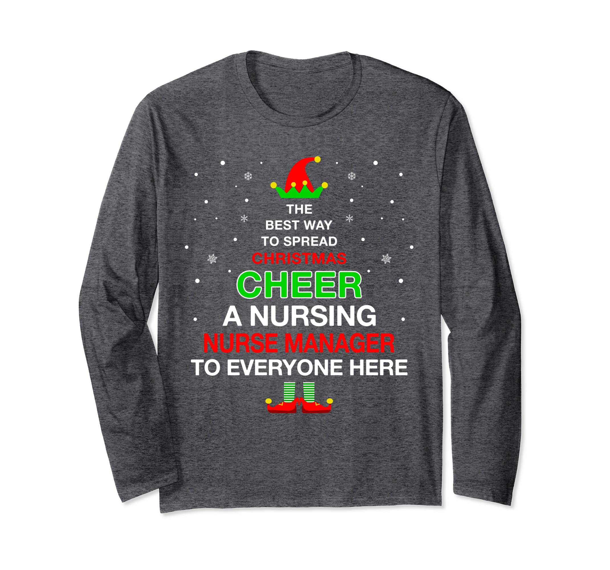 Christmas Pajamas Elf Cheer T-shirt For A Nurse Manager-ANZ