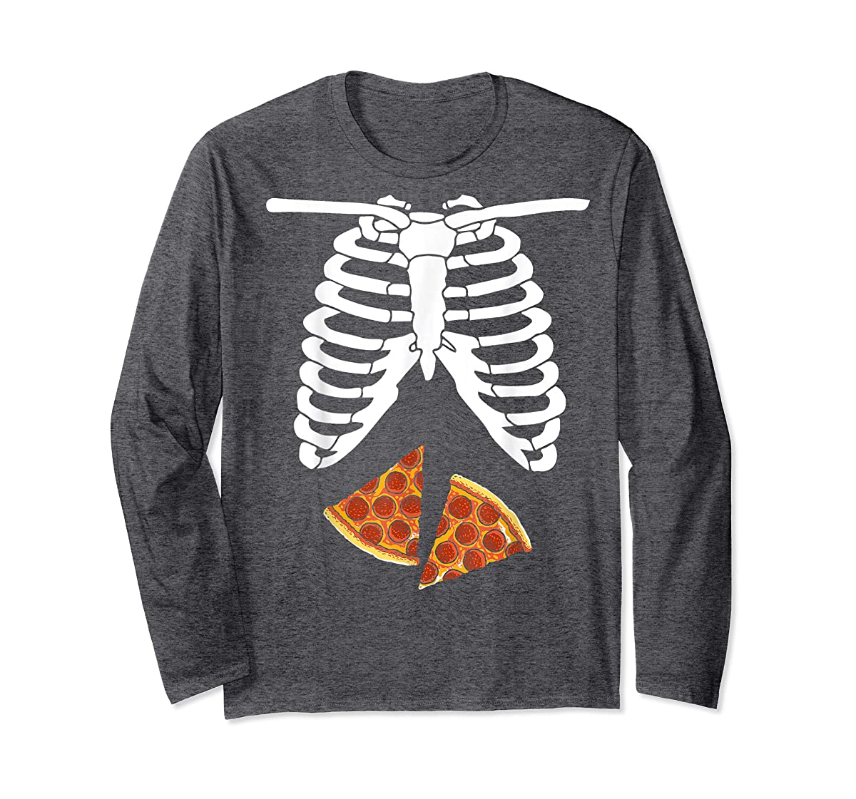 Halloween Skeleton Xray Pizza Slices Costume Rib Cage Easy T-Shirt-Long Sleeve-Dark Heather