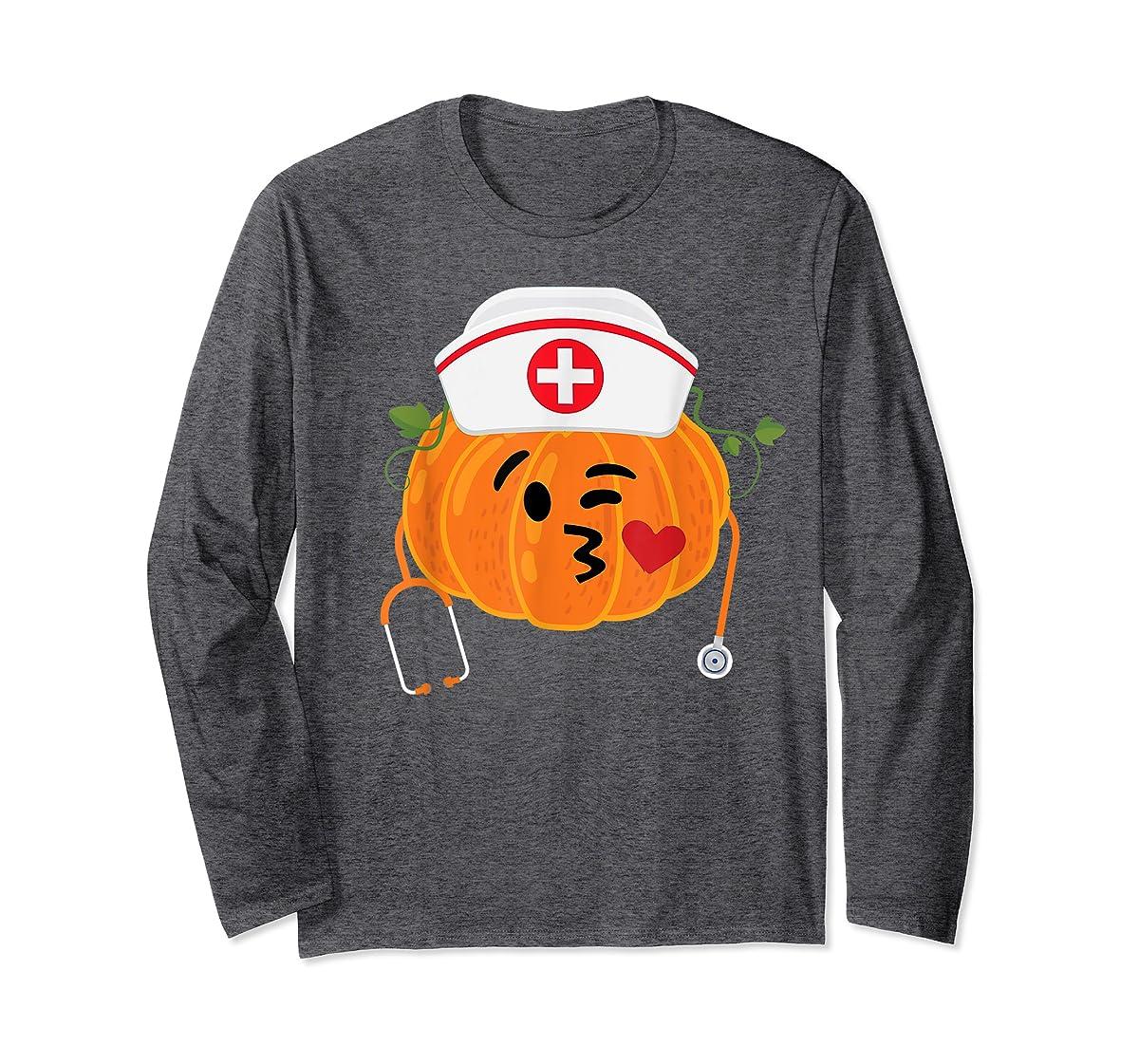 Nurse Stethoscope Pumpkin Funny Nursing Halloween Gift T-Shirt-Long Sleeve-Dark Heather
