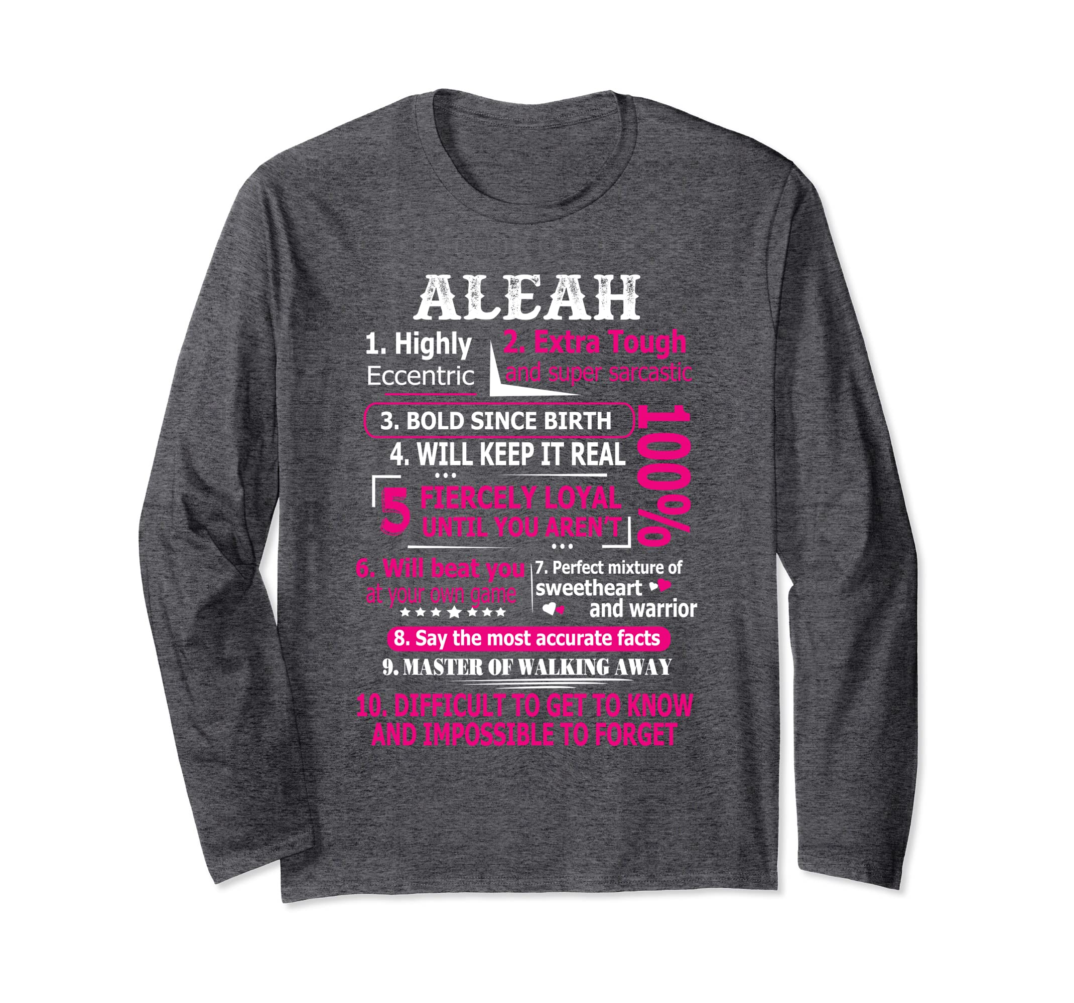 Amazoncom Aleah Highly Eccentric 10 Facts Shirt First Name Tee