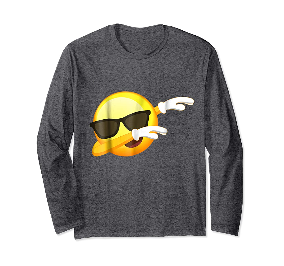 Funny Dabbing Emoji Shirt - Cool Emoji Dab T-Shirt-Long Sleeve-Dark Heather