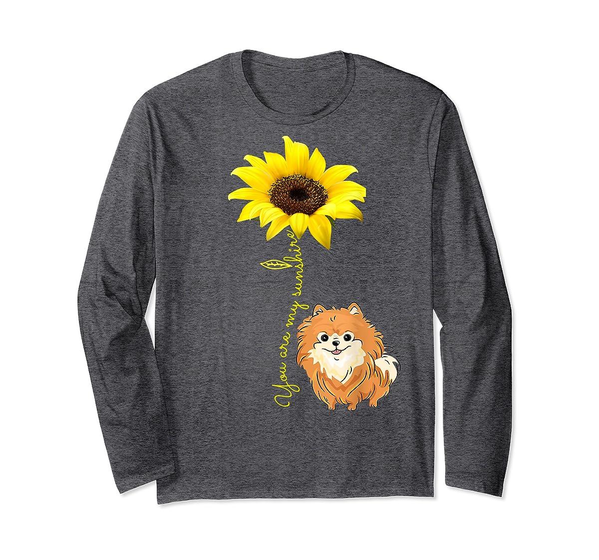 You Are My Sunshine Sunflower Pomeranian Pom Lover Shirt-Long Sleeve-Dark Heather