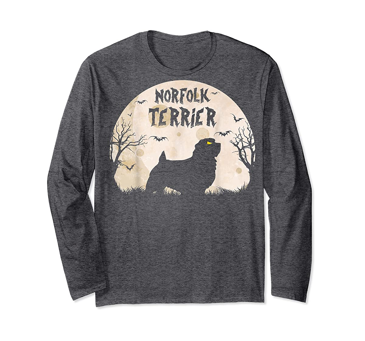 Halloween Horror Norfolk Terrier T-Shirt-Long Sleeve-Dark Heather