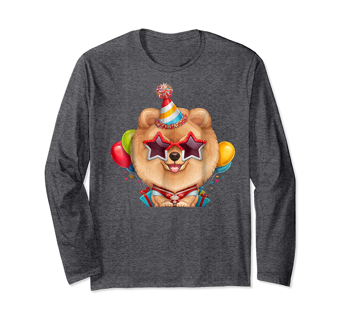 Orange Pomeranian in Glasses Birthday T-Shirt-Long Sleeve-Dark Heather