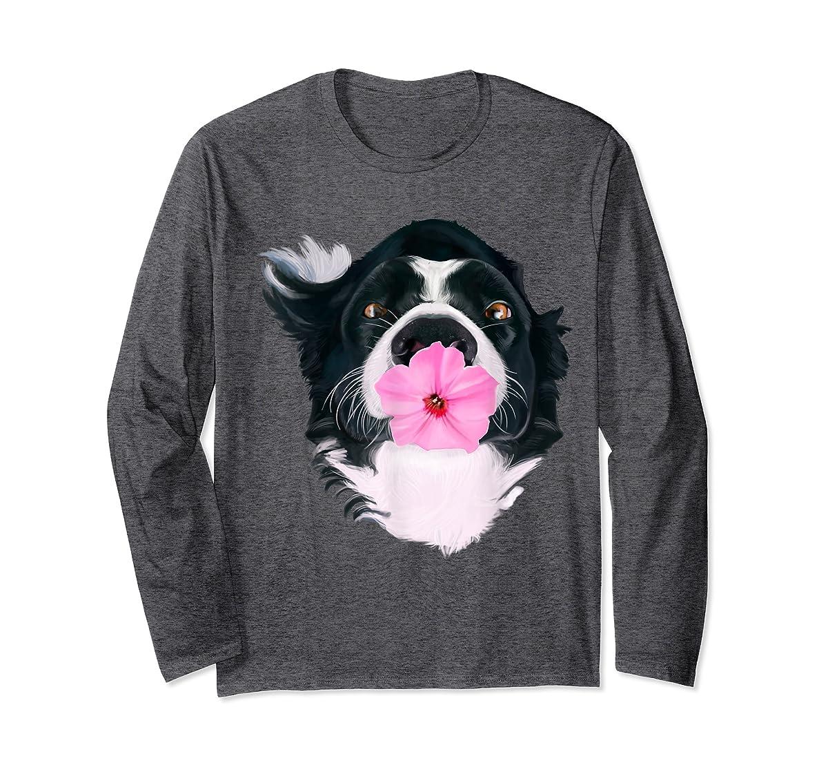 Border Collie Sweet Dog T-Shirt Dogs Tee Shirt Gifts-Long Sleeve-Dark Heather