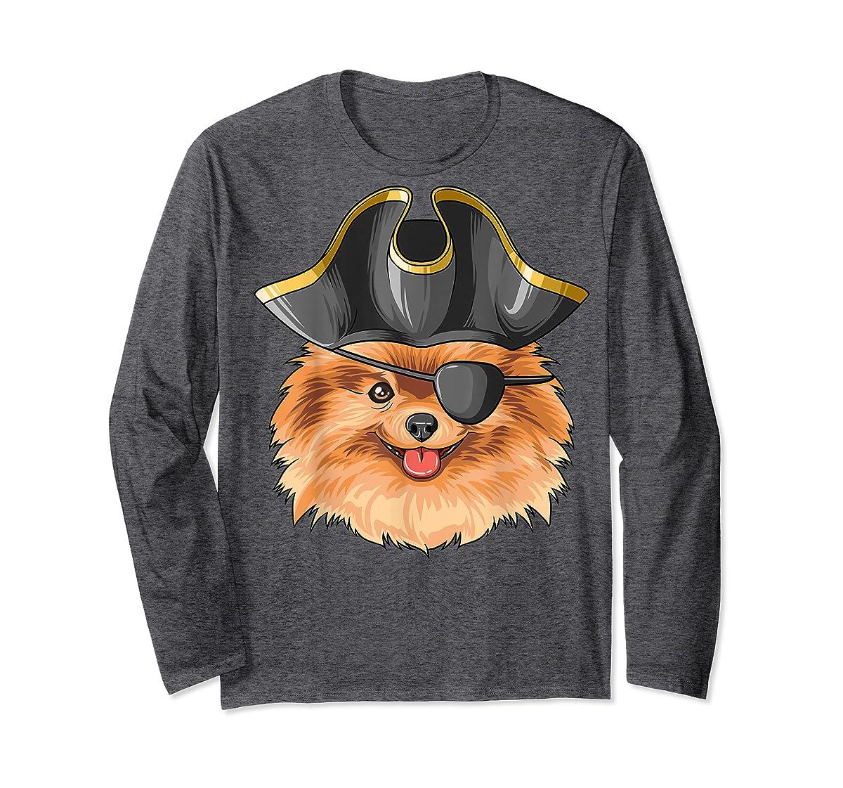 Pirate Pomeranian Pirates Hat Pomeranian T-Shirt-Long Sleeve-Dark Heather
