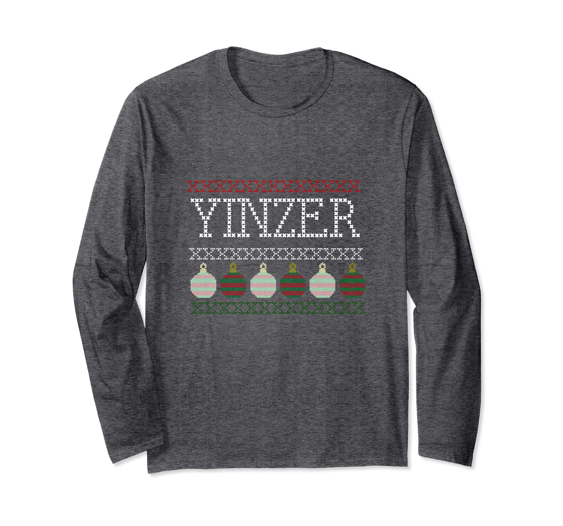 Amazon com: Yinzer Funny Holiday Ugly Sweater Font Long