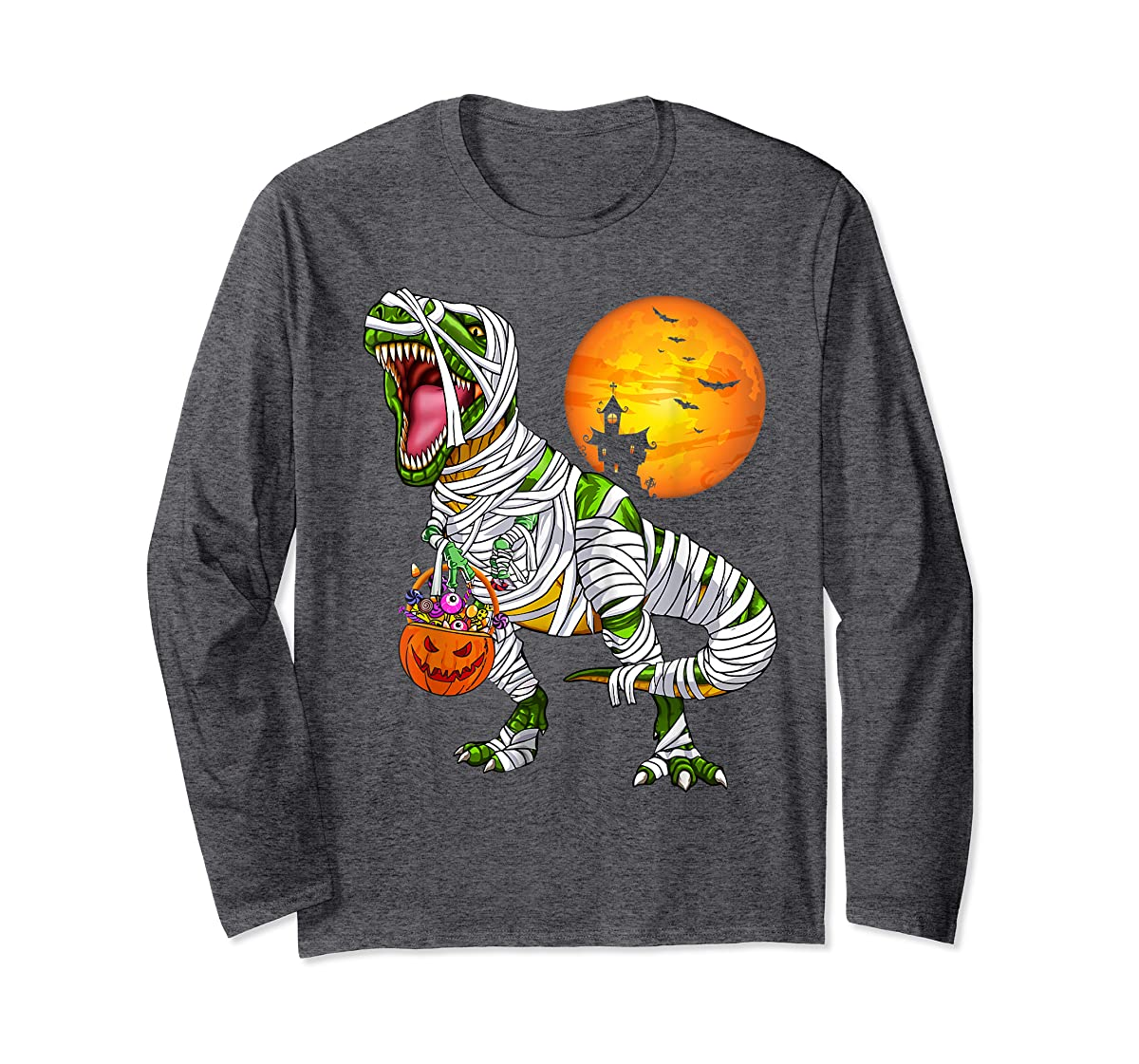 Halloween Gift For Boys Kids Dinosaur T rex Mummy Pumpkin T-Shirt-Long Sleeve-Dark Heather