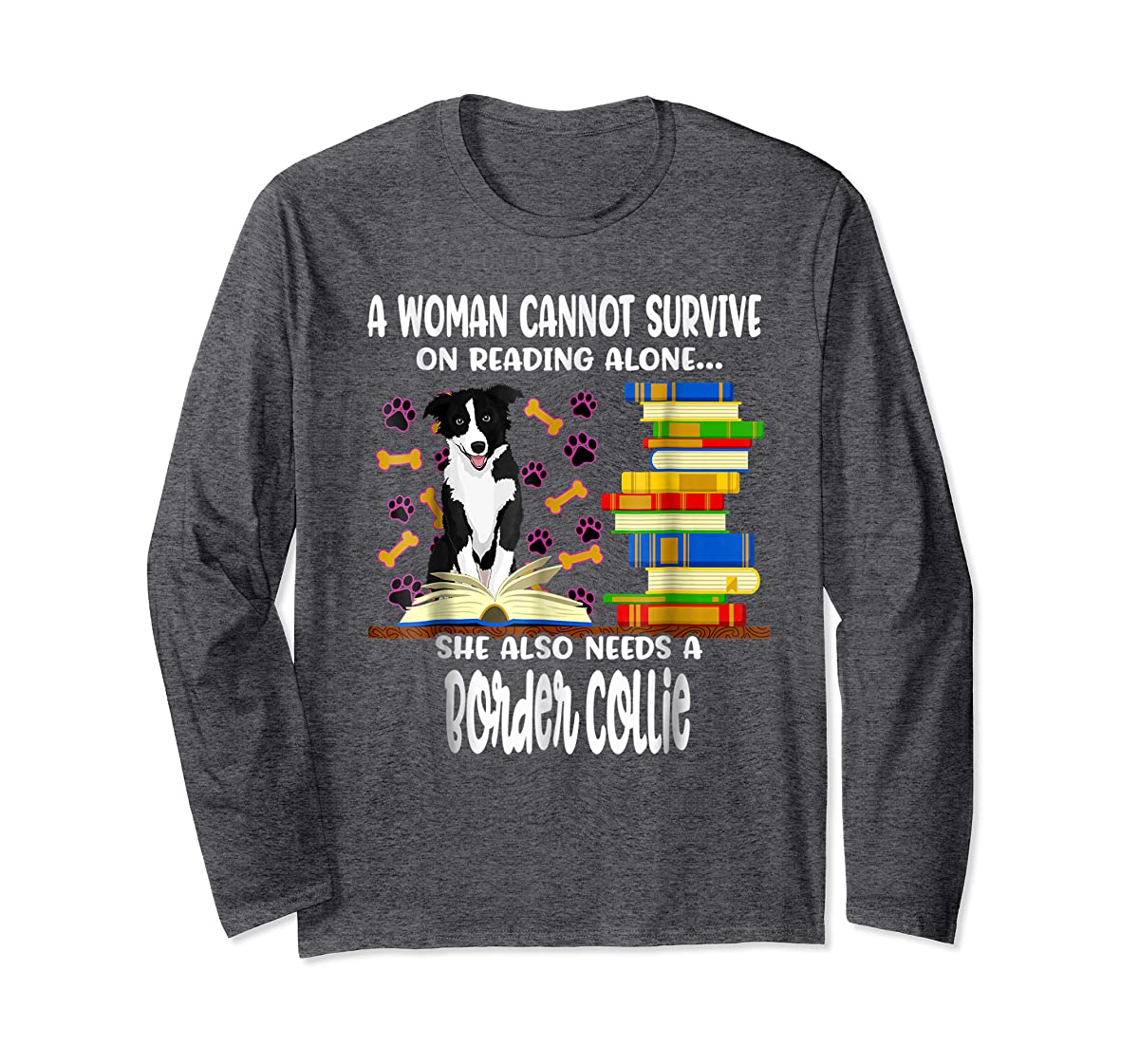 A Woman Reading Book Dog Border Collie Shirt-Long Sleeve-Dark Heather