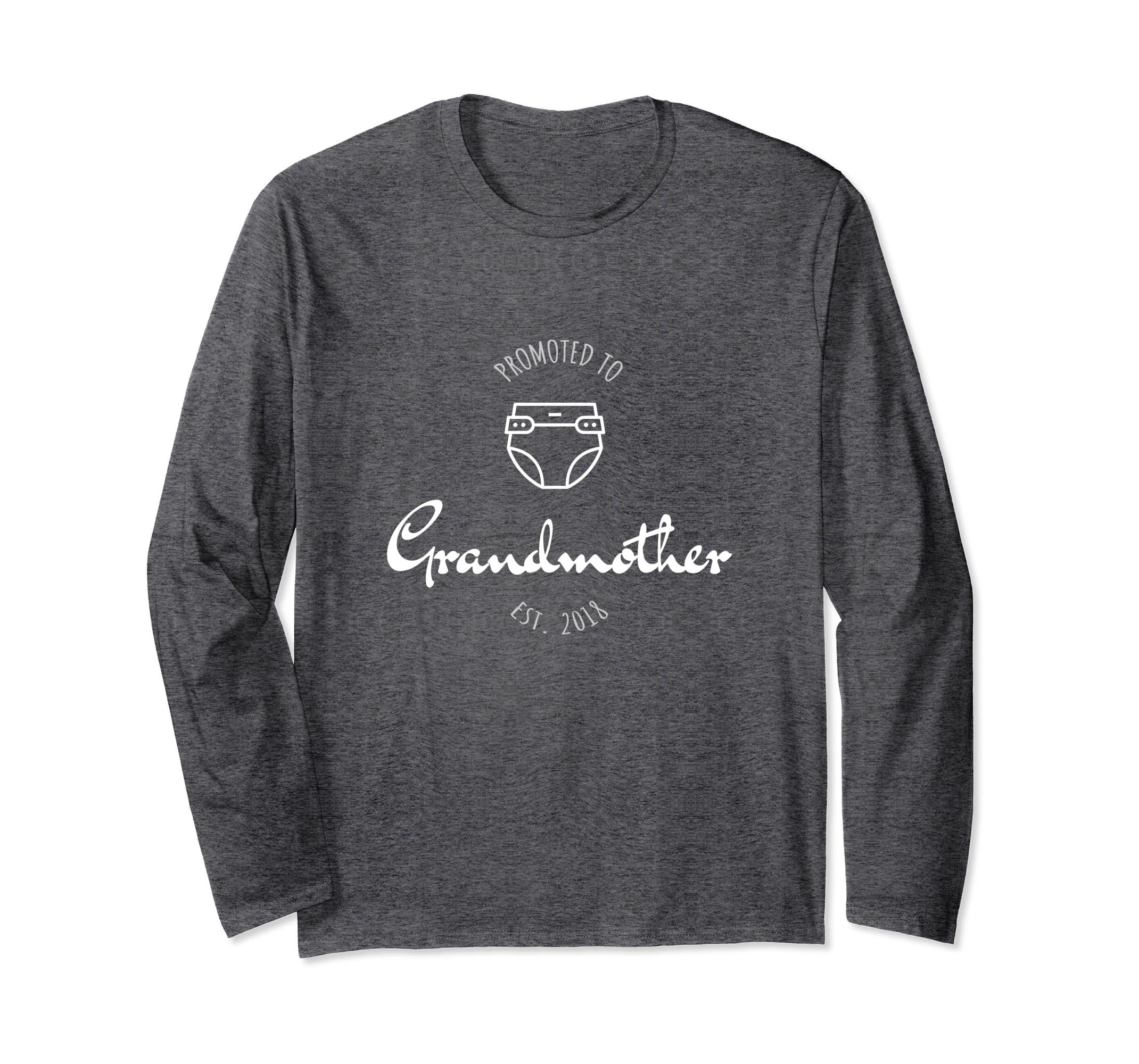 3bcbf8e4 Amazon.com: Promoted to Grandmother EST 2018 Grandma Long Sleeve T-shirt:  Clothing