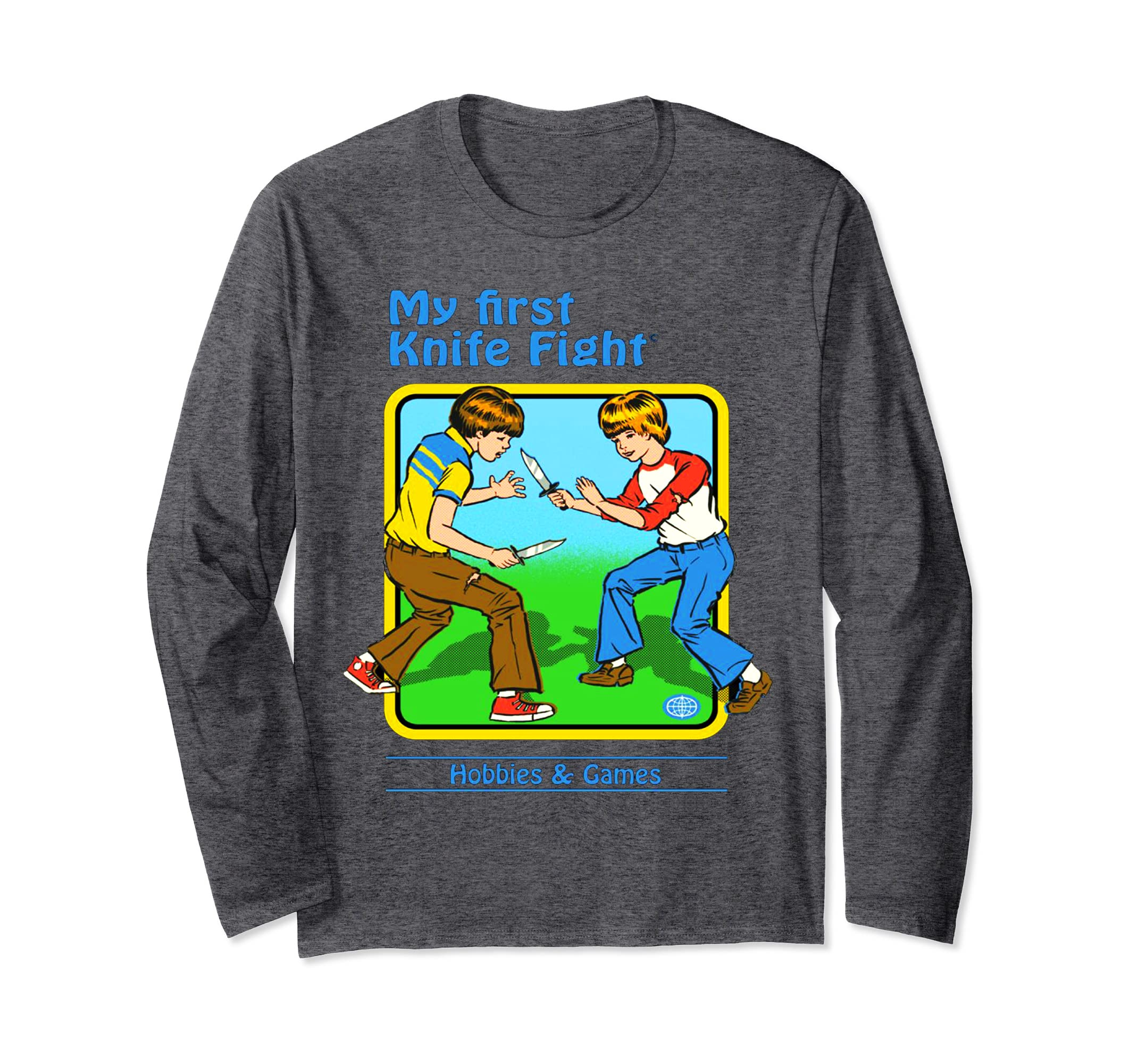 'My First Knife Fight' Funny Retro 70s Long Sleeve Shirt-ln